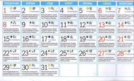 Місячний посівний календар на січень 2018 року
